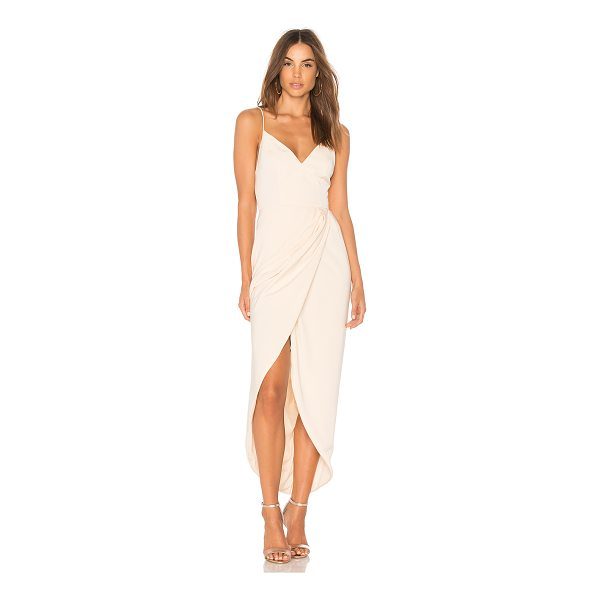 SHONA JOY Cocktail Draped Dress - 100% poly. Hand wash cold. Partially lined. Surplice skirt....