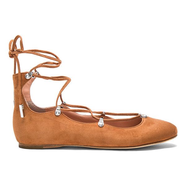 SIGERSON MORRISON Elias Flat - Suede upper with leather sole. Lace-up front with wrap tie...