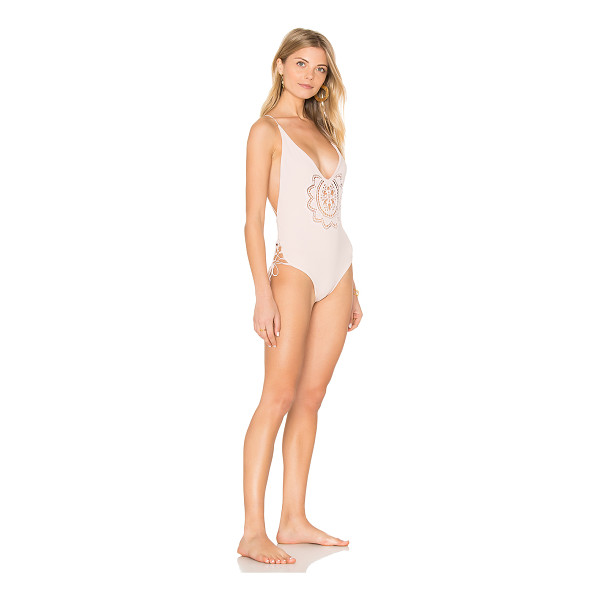 SOAH Sasha One Piece Swimsuit - Spandex blend. Hand wash cold. Stretch fit. Front lace...
