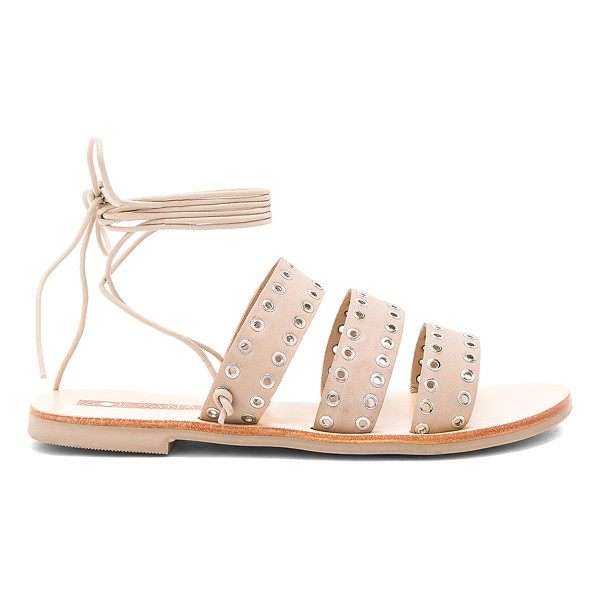 SOL SANA Union Sandal - Leather upper with rubber sole. Wrap ankle with tie...