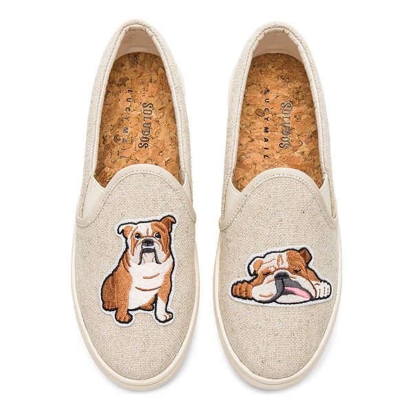 SOLUDOS Bulldog Slip On Sneaker - Canvas upper with rubber sole. Slip-on styling. Embroidered...