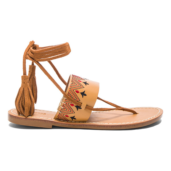 SOLUDOS Flat Lace Up Sandal - Leather upper with rubber sole. Lace-up front with fringe...