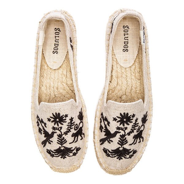 SOLUDOS Otomi embroidered smoking slipper - Canvas upper with man made sole. Slip-on styling. Jute...