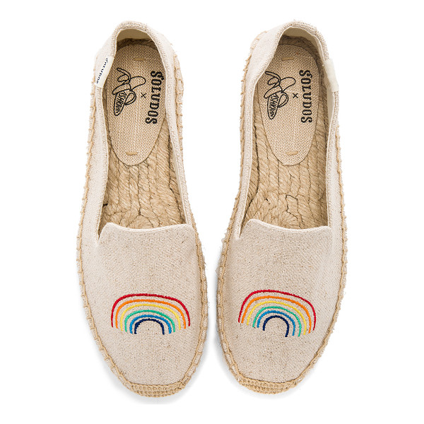 "SOLUDOS x Ashkahn Rainbow Platform Smoking Slipper - ""Canvas textile upper with man made sole. Slip-on styling...."