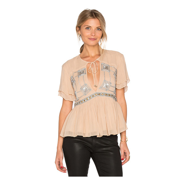 SOMEDAYS LOVIN Chloe Sequin Top - 100% viscose. Dry clean only. Front keyhole with tie...