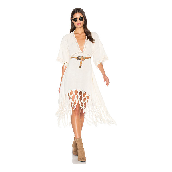 SOMEDAYS LOVIN Sweet Talking Kimono Dress - Linen blend. Hand wash cold. Unlined. Lace trim. Woven and...