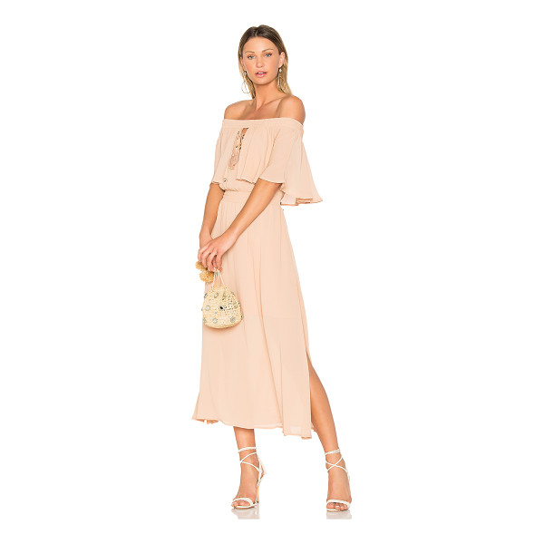 "SOMEDAYS LOVIN Touch the Sun Midi Dress - ""100% poly. Fully lined. Smocked elastic neckline. Flounce..."