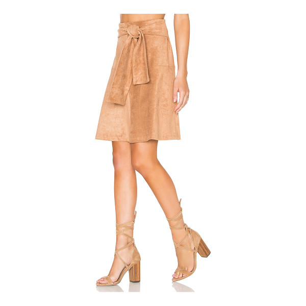 STATE OF BEING Eliza Skirt - Poly blend. Dry clean only. Faux suede. Front tie accent....