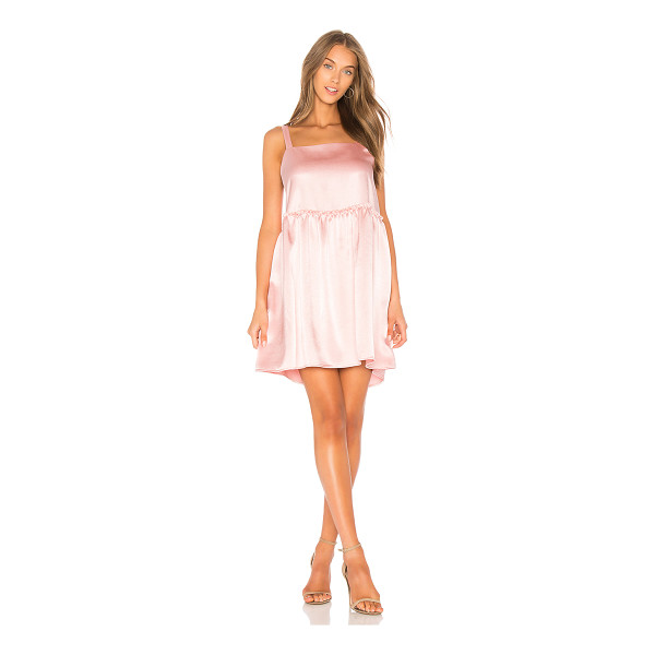 STEELE x REVOLVE Silken Mini Dress - Self & Lining: 100% poly. Dry clean only. Ruffle trim....