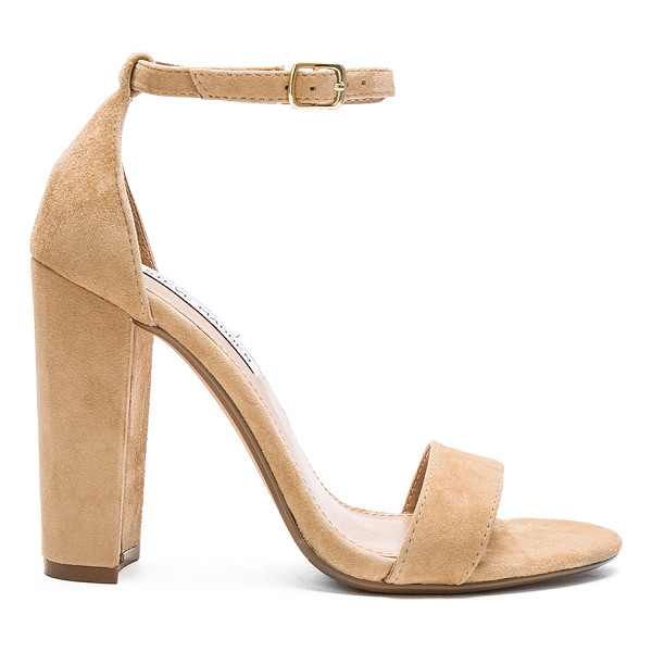 STEVE MADDEN Carrson heel - Suede upper with man made sole. Ankle strap with buckle...