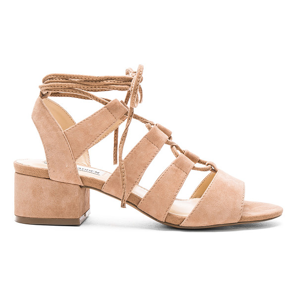 STEVE MADDEN Kittyy heel - Suede upper with man made sole. Lace-up front with wrap tie...