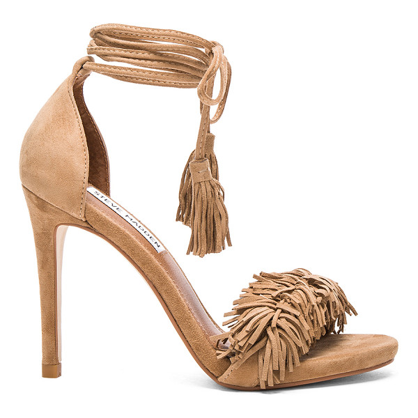 STEVE MADDEN Sassey heel - Suede upper with man made sole. Ankle wrap tie closure....
