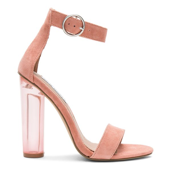 """STEVE MADDEN Teaser Heel - """"Suede upper with man made sole. Ankle strap with buckle..."""