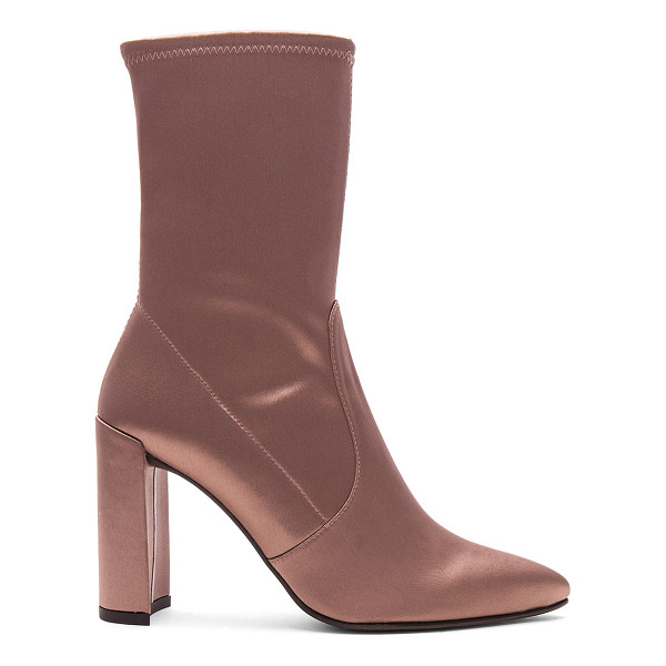 STUART WEITZMAN Clinger Bootie - Satin textile upper with leather sole. Pull on styling.