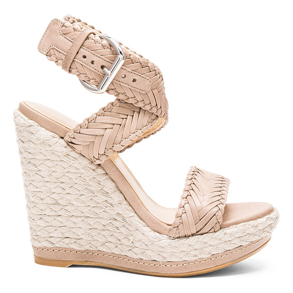 STUART WEITZMAN Elixir Heel - Woven leather upper with rubber sole. Wrap ankle with...