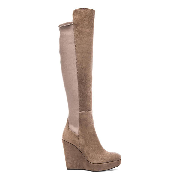 "STUART WEITZMAN Highline boot - Suede upper with rubber sole. Wedge measures approx 4.5""""..."