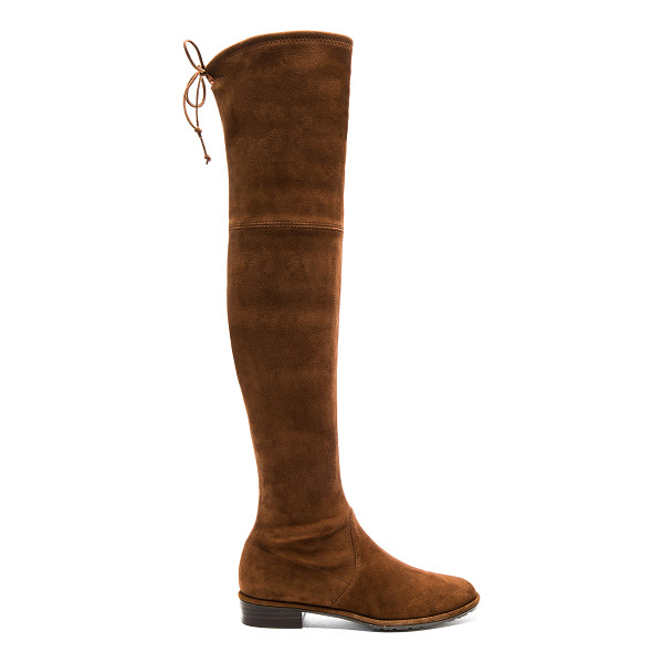 STUART WEITZMAN Lowland Boot - Suede upper with rubber sole. Back tie closure. Heel