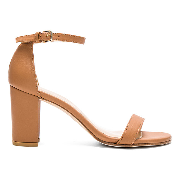 STUART WEITZMAN Nearlynude heel - Leather upper and sole. Ankle strap with buckle closure....