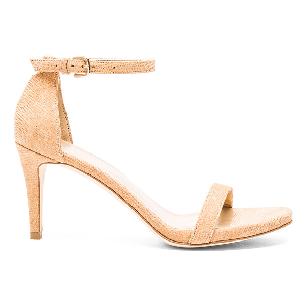STUART WEITZMAN Nunaked Heel - Embossed suede upper with leather sole. Ankle strap with...