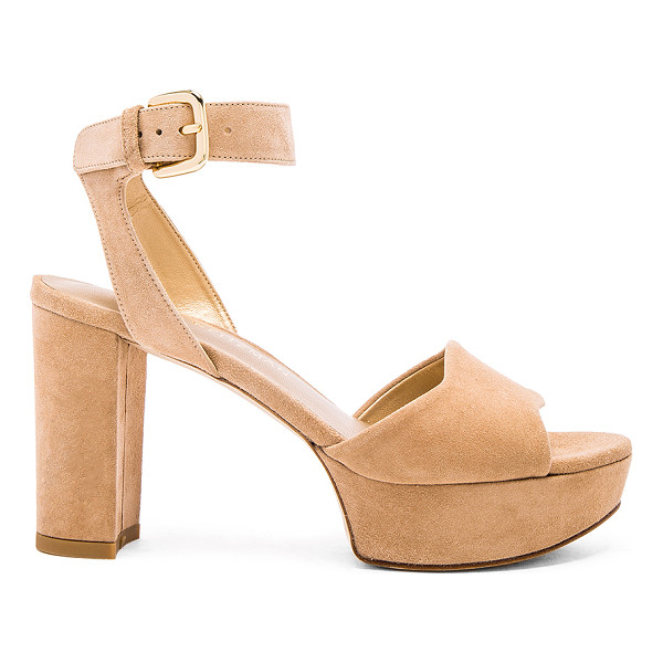 STUART WEITZMAN Realdeal heel - Suede upper with leather sole. Ankle strap with buckle...