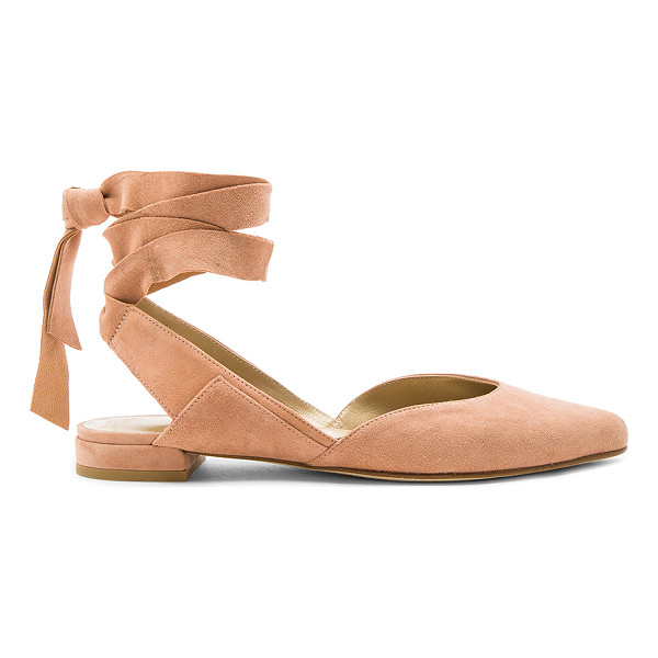 STUART WEITZMAN Supersonic Flat - Suede upper with leather sole. Wrap ankle with tie closure....