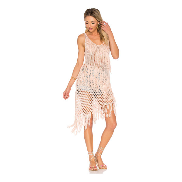SUBOO New Romantics Fringe Dress - 100% cotton. Hand wash cold. Unlined. Sheer crochet knit...