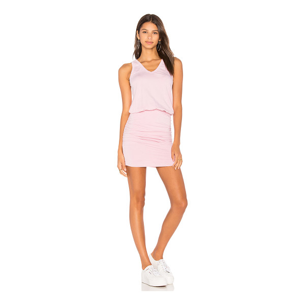 SUNDRY U Neck Dress - 95% cotton 5% spandex. Partially lined. Ruched side seams....