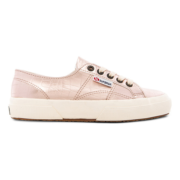 SUPERGA Slip on sneaker - Croc embossed faux leather upper with rubber sole. Lace-up...