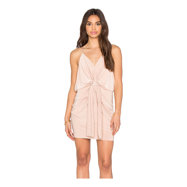 T-BAGS LOS ANGELES Domino Tie Front Micro Mini Dress - 96% poly 4% spandex. Dry clean only. Unlined. Draped front...