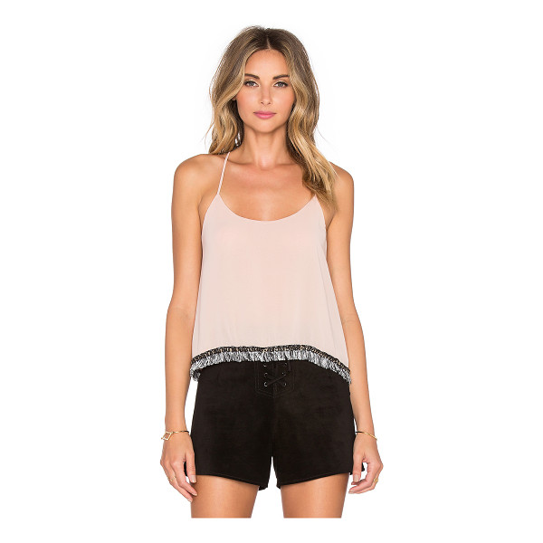 T-BAGS LOS ANGELES Scoop Neck Tank - Poly blend. Hand wash cold. Fringe hem with chain link...