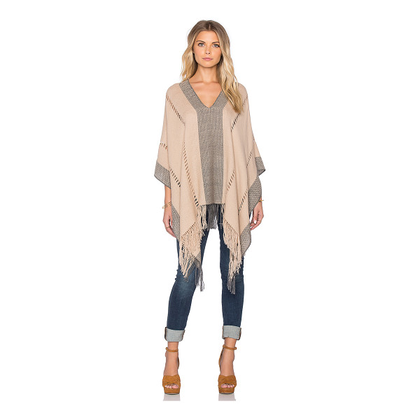 TEJIDO Honeycomb pierced poncho - Cotton blend. Dry clean only. Fringe trim. TEJR-WO6. HANF2...