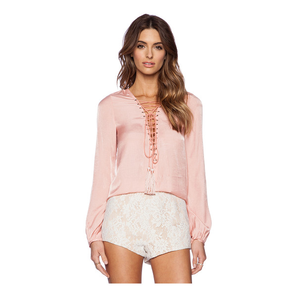 THE JETSET DIARIES Delta Shirt - Cotton blend. Lace-up front with tie closure. Tassel...