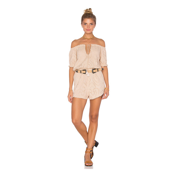 THE JETSET DIARIES Santa Fe Romper - Self: 90% cotton 10% silkLining: 100% rayon. Dry clean...