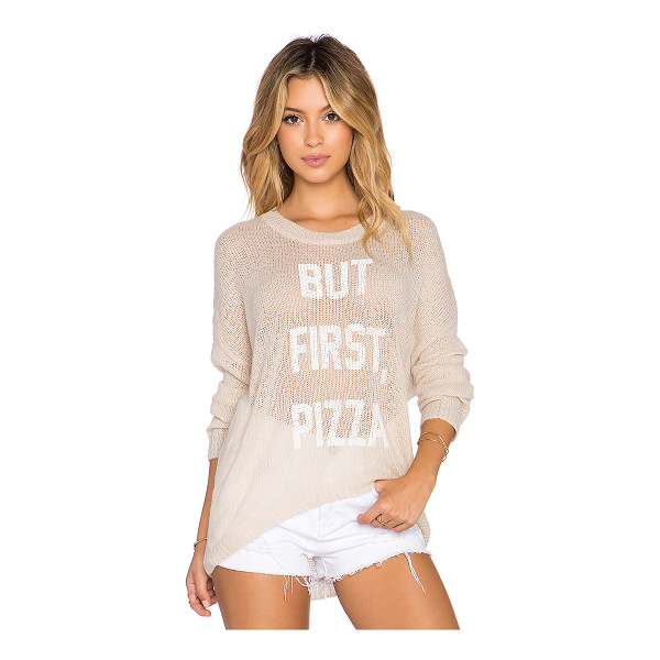 THE LAUNDRY ROOM But first, pizza beach bummies sweater - 87% acrylic 10% elastic 3% tencel. Front graphic print....