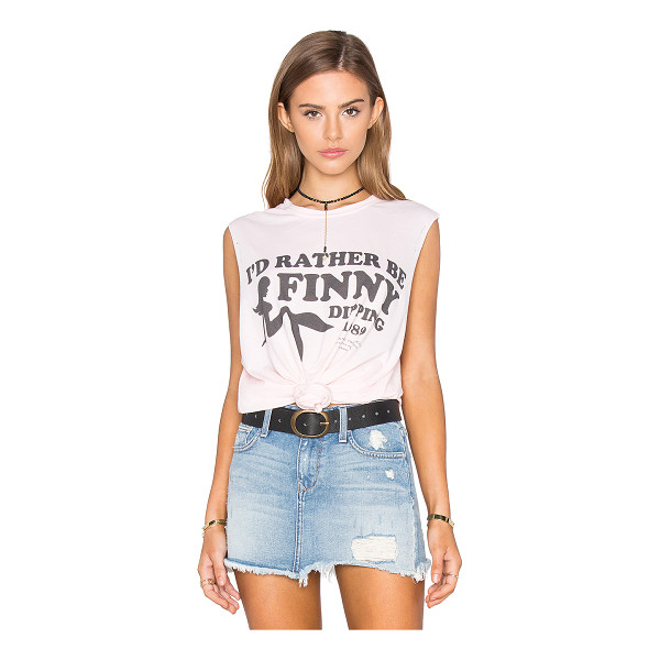 THE LAUNDRY ROOM Finny Dipping Muscle Tee - 60% cotton 40% poly. Front graphic print. Distressed...