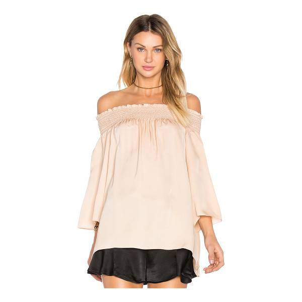 THEORY Elistaire Off the Shoulder Blouse - 100% silk. Dry clean only. Elasticized smock neckline. Side...