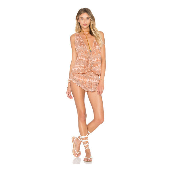 TIARE HAWAII Barrier Reef Romper - 100% rayon. Hand wash cold. Front and back lace-up...