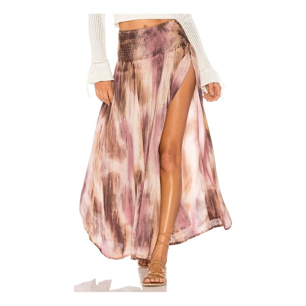 TIARE HAWAII Rock Your Gypsy Soul Maxi Skirt - 100% rayon. Hand wash cold. Unlined. Smocked elastic waist....