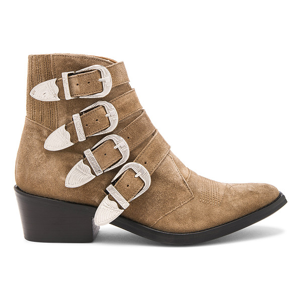 TOGA PULLA Western Buckle Bootie - Suede upper with leather sole. Etched buckle closures....