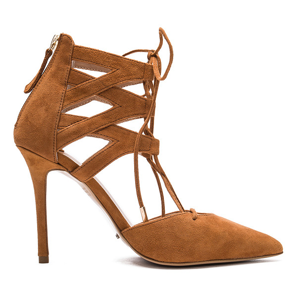 TONY BIANCO Dakotah Heel - Suede upper with man made sole. Back zip closure. Lace-up
