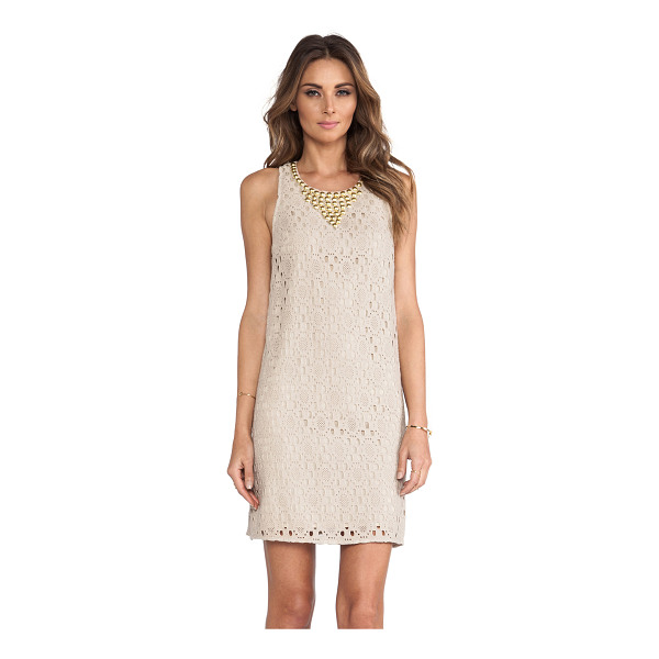 TRINA TURK Avalon dress - Cotton blend. Fully lined. Metallic gold beaded neckline....