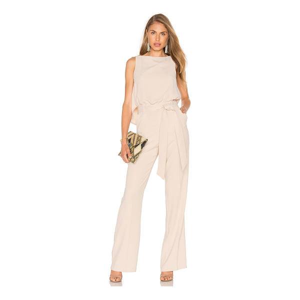 TRINA TURK Epoch Jumpsuit - Poly blend. Dry clean only. Waist tie. Front slant pockets....