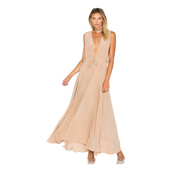 TROIS Josie Maxi Dress - 100% silk. Dry clean only. Unlined. Drawstring tie waist...