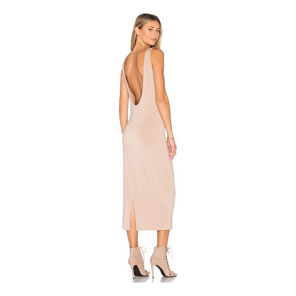 TROIS Klum Midi Dress - 90% modal 10% spandex. Hand wash cold. Unlined. Scoop back....