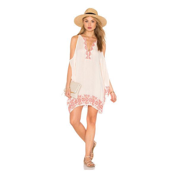 TT BEACH Isabel Cold Shoulder Dress - 100% rayon. Hand wash cold. Unlined. Embroidery throughout....