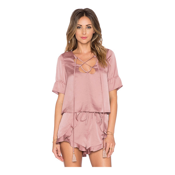 TULAROSA Phoebe top - Poly blend. Hand wash cold. Lace-up front with tie closure....