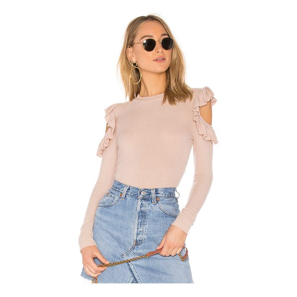 TULAROSA Ruffle Cold Shoulder Sweater - Refined knitwear is given the girly treatment in this...