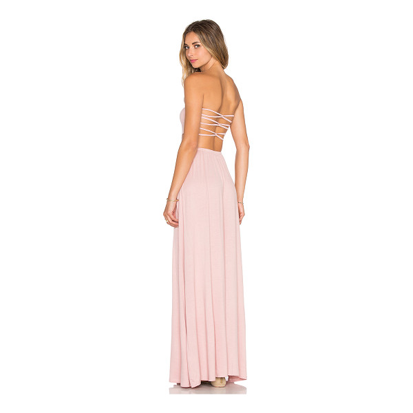 TULAROSA X revolve demi strapless maxi dress - 95% rayon 5% spandex. Hand wash cold. Unlined. Back cut-out...