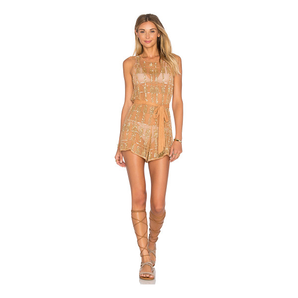 TULAROSA x REVOLVE x Rocky Barnes Star Romper - 100% poly. Hand wash cold. Waist tie. Sequin detail...