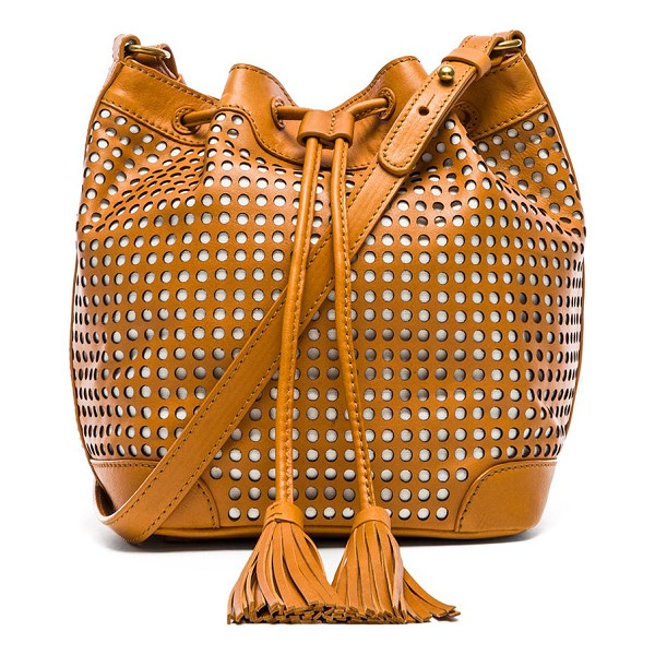 TWELFTH ST. BY CYNTHIA VINCENT Addison bucket bag - Perforated leather exterior with printed fabric lining....